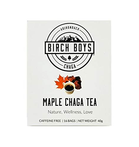 Birch Boys | Wild Crafted Caffeine Free Maple Flavored Organic Chaga Mushroom Tea Bags- Best Antioxidant Morning Tea With 16 Bag Count…