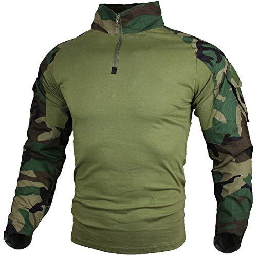 zuoxiangru Camiseta de Combate táctica para Hombres, Camisa Multicam Transpirable Ripstop para Caza Militar Airsoft