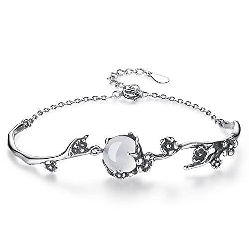 Elnker Moonstone Fresh Lovely Sweet 925 Sterling Silver Female Resizable Bracelets