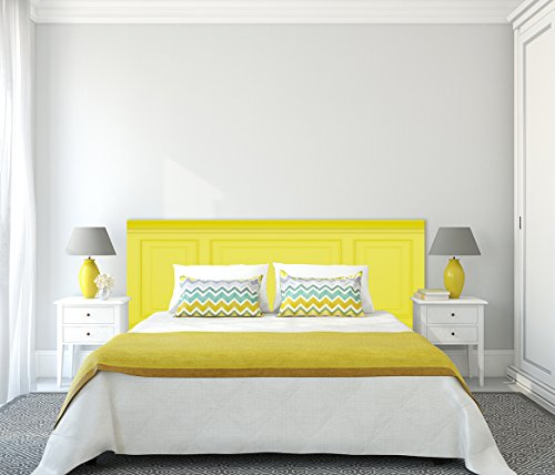 Cabecero Cama Elegante Amarillo 200x60cm | Color Amarillo | Cantos Impresos | Disponible en Varias Medidas | Cabecero Ligero, Elegante, Resistente y Económico