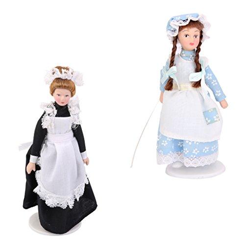 2 Piezas 1/12 Muñecas de Porcelana Victoriana Expositor Casa de Muñecas en Miniatura