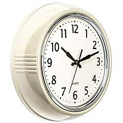 Bernhard Products Retro Wall Clock 9.5 Inch Cream Kitchen 50's Vintage Design Round Silent Non Ticking Quality Quartz Clock for Home/Office/Classroom (Cream)