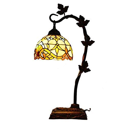 Tiffany Style bureaulamp in 8 inch handgemaakte barok glasschilderij schaduw tafellamp voor woonkamer slaapkamer commode boekenkast salontafel nachtkastje verlichting,220V, E27 (27×62 cm)