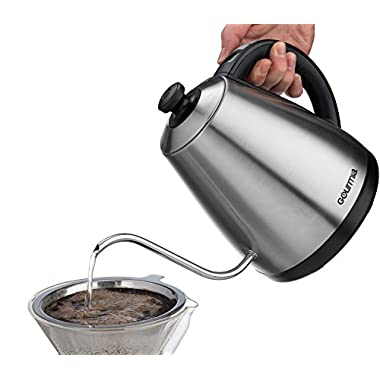 Gourmia GPK720 Cordless Electric Kettle - Digital Base Control- Keep Warm - Precise Gooseneck Spout - Perfect for Pour Over Coffee and Loose Leaf Teas - Auto Shut Off - 1L - 1000W - Stainless Steel
