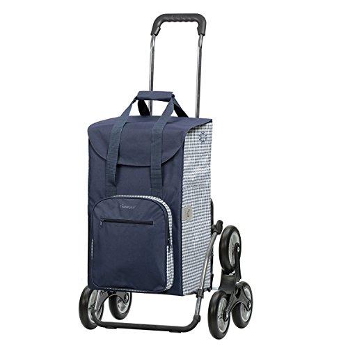 Andersen Einkaufstrolley Royal als Treppensteiger und 45 Liter Einkaufstasche Dante blau/weiß mit Kühlfach Einkaufswagen Stahlgestell klappbar