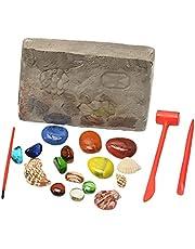 Sharplace Zestaw do kopania kamieni szlachetnych dla dzieci – kopanie 17 prawdziwych kamieni naukowych i edukacyjnych zabawki dla dzieci myślistwo skarby zabawki do gier
