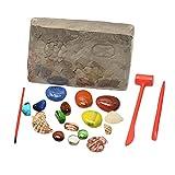 freneci Discovery Diamond Gem Hunting Kits de Excavación para Niños Juego de Juego de Excavación de Gemas para Niños