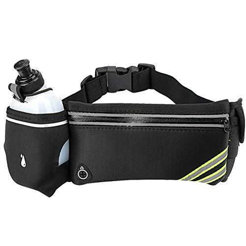 Cinturón de Correr con Soporte para Botella de Agua, para Auriculares Tira Reflectante Bolsillos con Cremallera para Correr Senderismo Ciclismo Escalada