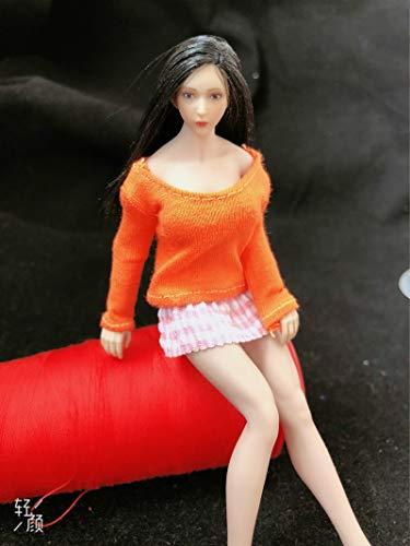 WXIAO HMMOZ 1/12 Scale Casual Manga Larga de algodón Camiseta Modelo Negro/Gris/Rojo/Naranja para 6 '' tbliaague phmb2018 Cuerpo sin Fisuras Animado Figura (Color : Naranja)