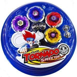 euphoria rk toys beyblades Pack of 4-in-1 metal fighter fury with fight ring and handle launcher for kids (black)- Plastic,Multi color