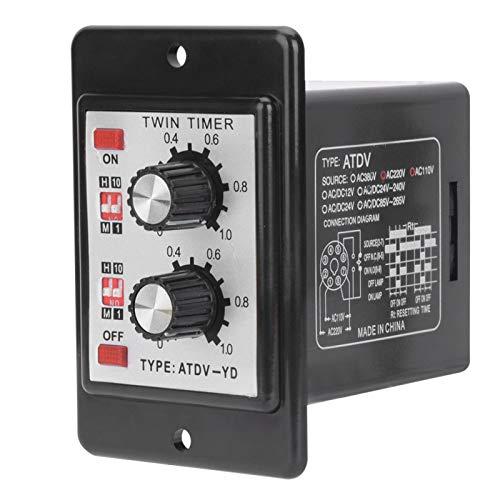 Relé de temporizador doble Evtscan, perilla de encendido y apagado Interruptor de tiempo, ciclo de repetición de período corto, temporizador intermitente, temporizador de intervalo