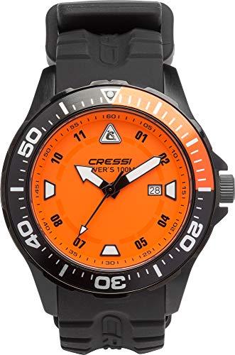 Cressi Manta Coloroma Reloj Submarino 100 m, Unisex Adulto, Negro/Negro/Naranja, Uni