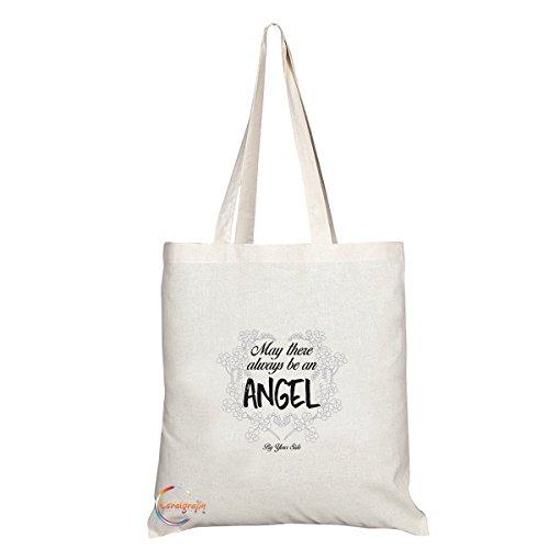 TB103 Kan Er Altijd Een Engel Aan Uw Zijde Novelty Present Gift Gedrukt Milieuvriendelijk Stijlvolle Lange Handled Tote Schoudertas