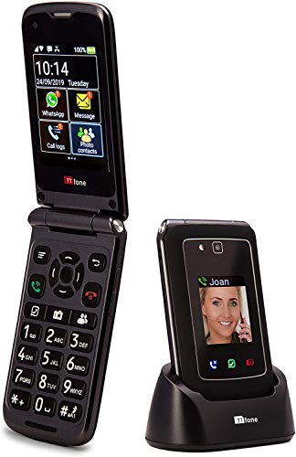 TTfone Titan TT950 Whatsapp 3G Touchscreen Senior Big Button flip Handy - einfach und einfach zu bedienen (mit Autoladegerät und Koffer)