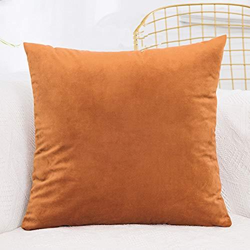 Funda de cojín de terciopelo de lujo, funda de almohada sólida, azul, caqui, rosa, blanco, negro, funda de almohada decorativa para el hogar (color: marrón)