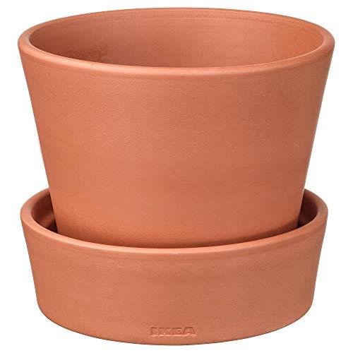 Ikea Ingefara vaso da fiori con piattino per esterni ed interni/esterni terracotta size: 43/4502.580.40