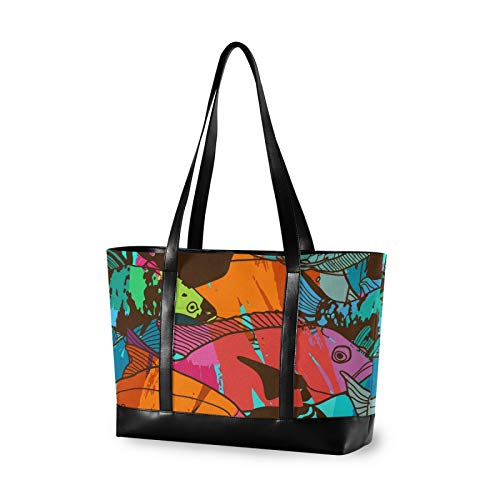 Large Woman Laptop Tote Bag - Aquatic Colorful Tropical Fish Canvas Shoulder Tote Bag Fit 15.6 Inch Computer Ladies Briefcase for Work School Shopping Outdoor Activities