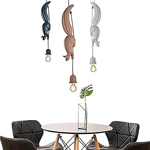 Yiheng Lámparas Araña Resina en Forma de Ardilla Lámpara Colgante Creativas Simples Lámpara Techo de Personalidad Moderna Alambre de Suspensión Ajustable Dormitorio Salón Cafetería Luminaria,Rosado