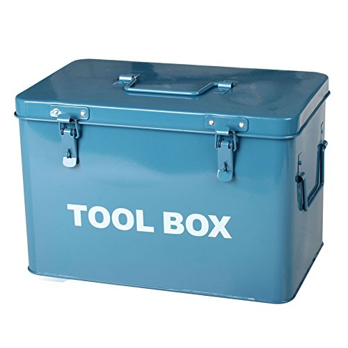 Simpa Blue Metal Toolbox Retro Vintage Style Single Tray Tool Box with Lockable Lid (Padlocks Not Supplied) 21cm(H) x 31cm(W) x 19cm(D) Dads Tool Box Garage Storage Shed Tool Box