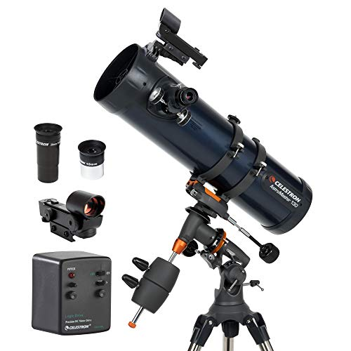 Celestron  AstroMaster 130EQMD Newtonian Telescope  Reflector Telescope for Beginners  FullyCoated Glass Optics  AdjustableHeight Tripod  BONUS Astronomy Software Package