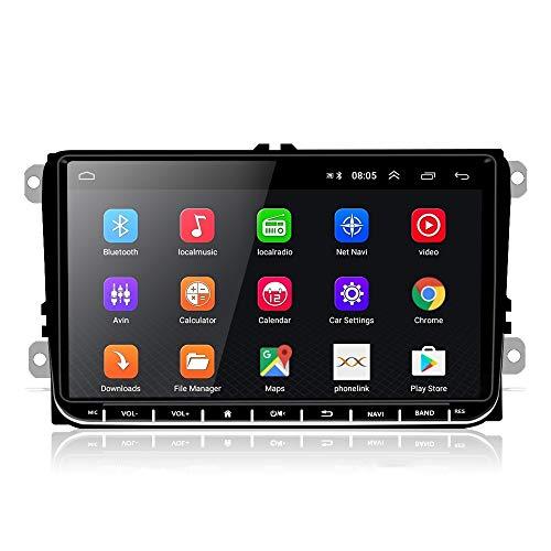 Podofo 9 Zoll Android Autoradio für VW Doppel Din Autoradio Bluetooth GPS Auto Radio Player für VW SEAT Passat Golf Skoda Unterstützt WiFi Spiegel Link FM-Radio Doppel-USB +8 LED Rückfahrkamera