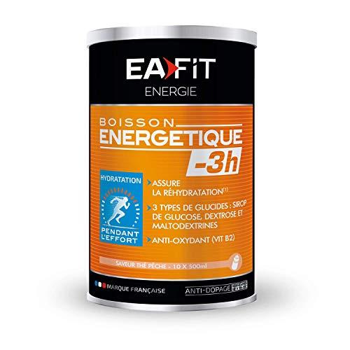 EAFIT Boisson Energétique -3H - 500 g - Thé Pêche - Energie - Endurance - Hydratation - Performance - Effort de courtes durées - 10 portions - Marque Française - Certifié anti-dopage