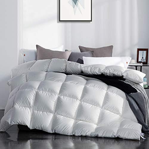 SNOWMAN Muñeco de Nieve Ganso Blanco Abajo edredón Cal King Size 100% algodón Carcasa Down Proof-Solid Blanco hipoalergénico, Blanco, Matrimonio Doble