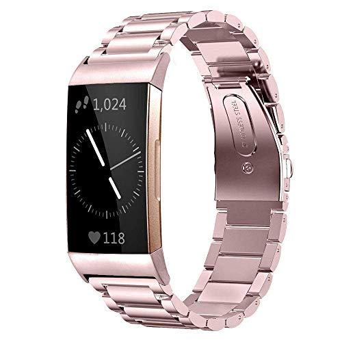 Myada Compatibel voor Fitbit Charge 3 Band RVS Verstelbare Smart Horloge Vervangende Band Metaal Klassieke Gesp Polsband Polsband Polsband voor Fitbit Charge 3 Smartwatch Fitness Tracker