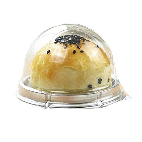 ZYMY Caja de plástico Transparente para Tartas, 50 Piezas, 2 Pulgadas, Caja para Magdalenas, Galletas, Magdalenas, Caja de Regalo de Boda y cumpleaños Plata
