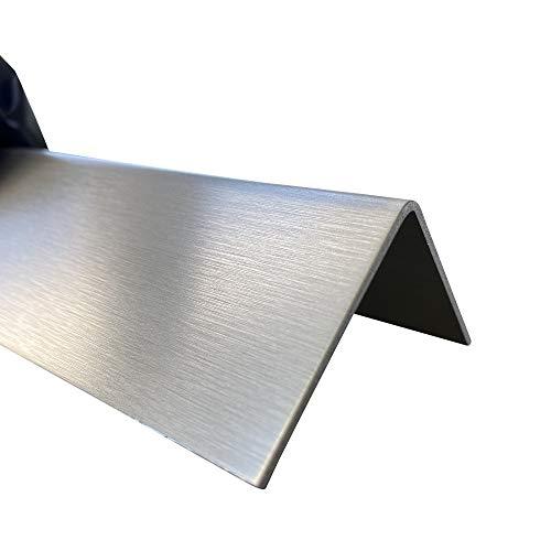 Edelstahl Winkel, V2A, 90x90 mm, 2000 mm lang, K240 geschliffen, 1,5 mm stark, Dekor außen, Einseitig mit Schutzfolie