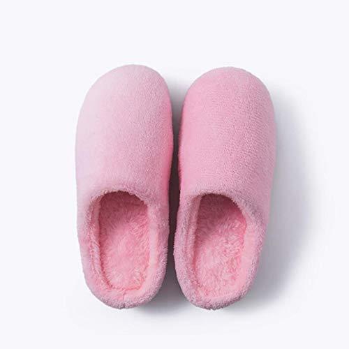 Sxuefang Zapatillas, Hogar Interior Pareja Cálida Zapatillas Otoño e Invierno Hombres y Mujeres Suave Fondo Tejido Antideslizante más Zapatillas de Algodón de Terciopelo