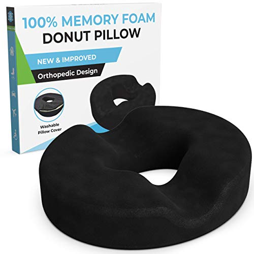 Donut Pillow for Tailbone Pain-100% Memory Foam Pain Relief Office Chair Cushion for Back, Sciatica, Orthopedic Surgery Recovery, Postpartum Pregnancy Seat Support-Reduce Coccyx and Hemorrhoids Pain