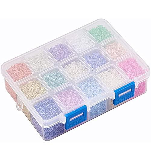 Perlas de semillas, Cuentas de vidrio, 15 colores mini cuentas de vidrio, para Accesorios de Ropa, Pulseras, Collares, Aretes, Sombreros, Colgantes, Etc(Color)