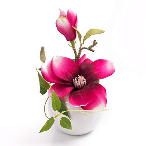 artplants.de Fleur de Magnolia Artificielle FEMI dans Un Pot en céramique, Rose Fuchsia, 20cm, Ø 17cm - Fausse Fleur - Magnolia décoratif