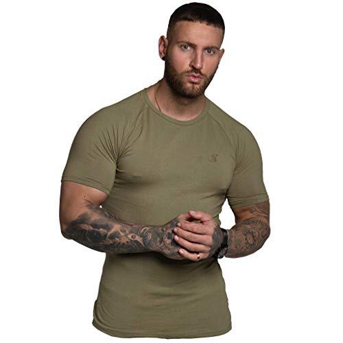 Simply Inspired Fitness Signature - Maglietta in cotone elasticizzato cachi S