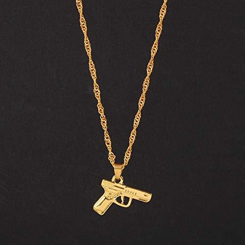 Collar Hiphop Streetwear Color Dorado con Forma De Pistola, Collar con Colgante, Cadena Ondulada, Mujeres, Hombres, Collares, Joyería