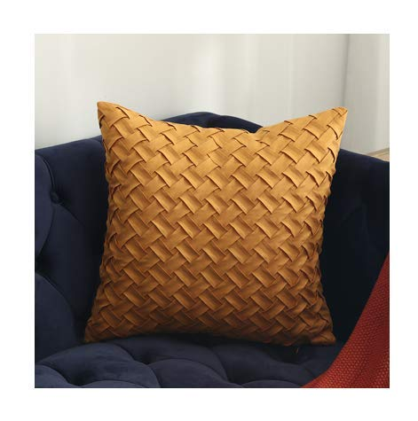 Yellow Brown Dark Red Cushion Cover Soft Faux Suede Home Decorative Pillow Cover Woven Pattern - C,30x50cm