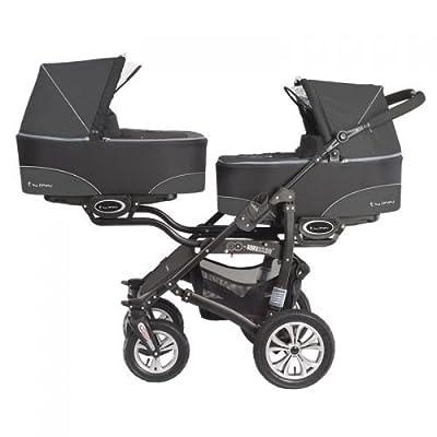 "'Baby Active ""twinni Zwilling cochecito Carrito Zwilling Buggy negro Nr.04 Darkblack"