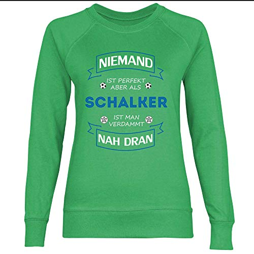 wowshirt Damen Sweatshirt Fußball Trikot Gelsenkirchen Schalker, Größe:XS, Farbe:Kelly Green
