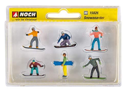 Rayher 46457000 Kunststoff-Miniaturen Snowboarder, ca. 1,5-2 cm, Set 6 Stück, für Mini-Winterdekorationen
