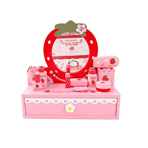 KYEEY Coiffeuses pour Enfants Jouer Bois Jardin d'enfants Rôle Maison Toy Princesse Enfants Couleur Simulation Coiffeuse Ensembles de Tables et chaises pour Enfants (Color : Pink, Size : 38x38x18cm)