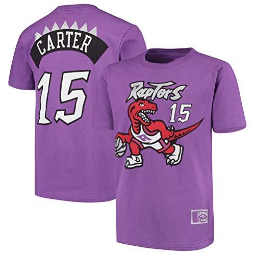 LSJ-ZZ T-Shirt da Uomo di Pallacanestro Abbigliamento NBA Toronto Raptors # 15 Vince Carter Retro Girocollo jeysey, Fitness Sports Superiore Respirabile,XL:175~180cm
