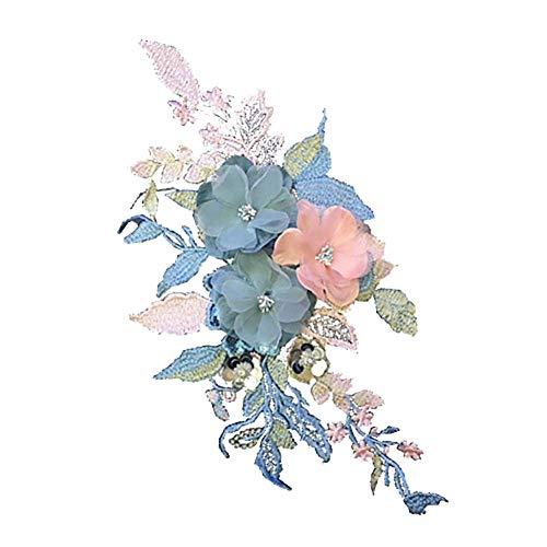 Wisilan - Toppe per fiori stereoscopiche in poliestere e seta 3D ricamate a forma di fiore per abiti, fai da te, cucito, decorazione di abbigliamento (blu)