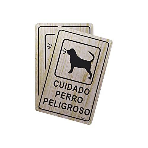 Andchi - Señal de advertencia de perro de 2 piezas, 20 x 30 cm, señal de metal de aluminio para patio, impermeable, sin óxido, sin decoloración