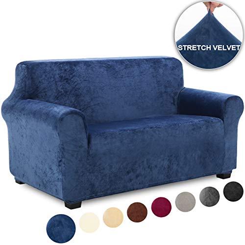 TIANSHU Funda de Sofá 2 Plazas Terciopelo,Cubierta Suave del sofá de la Felpa del Terciopelo para,Cubiertas Elegantes de los Muebles (2 Plazas,Azul Oscuro)