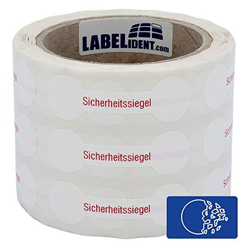 Labelident Siegeletiketten 70 x 21 mm - Sicherheitssiegel - 1000 Sicherheitssiegel Etiketten auf 1 Rolle(n), 3 Zoll Rollenkern, Dokumentenfolie weiß