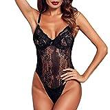UMIPUBO Ropa Interior Mujer Ropa de Dormir Conjunto de Lencería Erotica Babydoll Pijama Semi Teddy Encaje Deep V Bodysuit Lenceria (Negro, L)