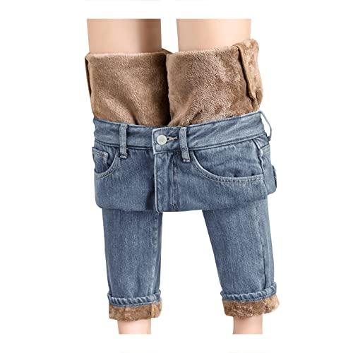 Damen Thermo-Jeans Winter-Gefüttert-Warm Thermohose: High Waist Fleece Jeanshose Straight Lang Winterhose Damen Thermo Fleecehose Warm Leicht Outdoor Sporthose