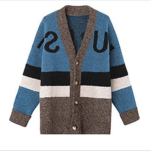 Manga larga de las mujeres con cuello en V cuello tejido cardigans suéteres abiertos frente chunky cárdigan suéteres abrigos sueltos color-bloque cardigan ropa exterior ( Color : Blue , Size : Code )