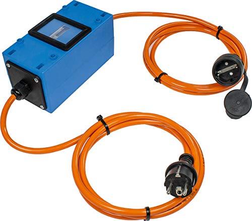 as - Schwabe MIXO Stromzähler/Zwischenzähler – Zwischenstecker Box 230 V – Rücklaufsperre – Schuko-Stecker und Kupplung – IP44 – Made in Germany I 61742, Blau